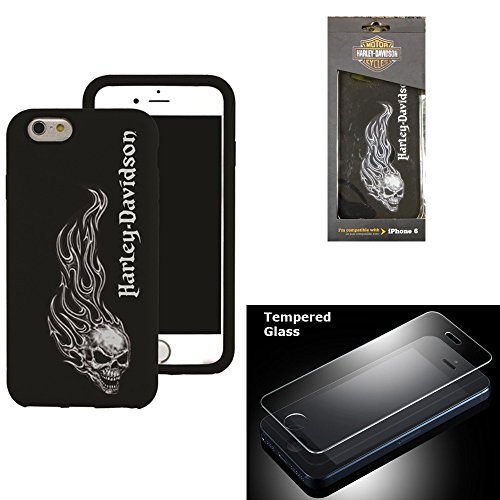 Harley Davidson iPhone 6s, iPhone 6 Hard Shell Skull and Flames Cover with Tempered Glass Screen Protector.