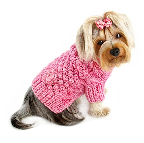Dog/Puppy Bobble Stitch Turtleneck Hand Knitted Sweater for Small Breeds (MEDIUM) - Hand Knitted Dog Sweater