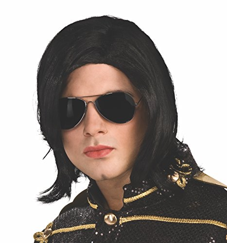 [Michael Jackson Long Straight Wig and Glasses] (Mj Thriller Halloween Costume)