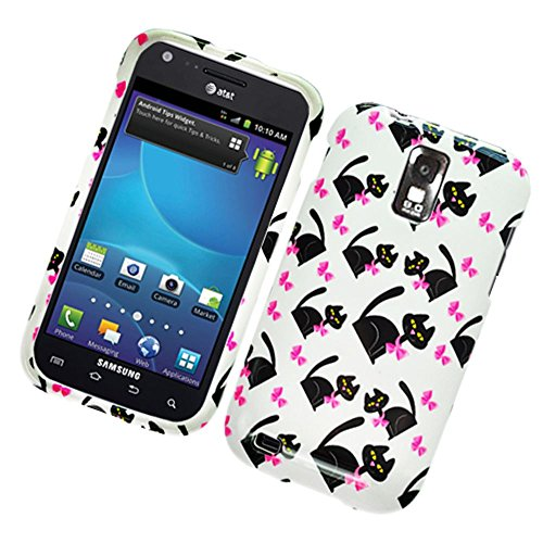 Eagle Cell PISAMT989G110 Stylish Hard Snap-On Protective Case for T-Mobile Samsung Galaxy S2 T989 - Retail Packaging - Cat Bow Tie