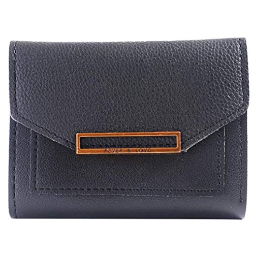 Folding Package Wallet Fashion EUzeo Black Purse Coin Women Student Card Short Wallet x1n8q4nZw