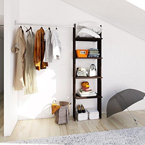 PLAYCON Closet armable Organizador modelo Básico 4 entrepaños Ancho máximo de 183 cm Color Chocolate Texturizad