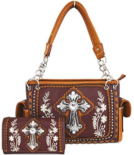 Blancho Bettwäsche-Frauen [Klassisches Muster] PU-lederner Art- und Weisetasche Handbad eleganter Geldbeutel Combo-DarkBraun