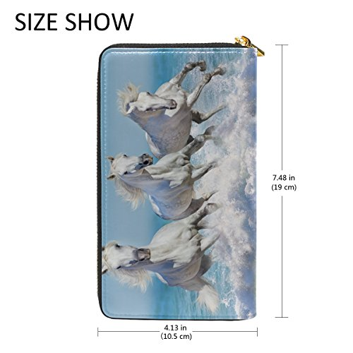 Leather Wallet Handbag ALAZA Clutch Long Horse genuine Leather Blue4 Different Purse Animal q8CqP0