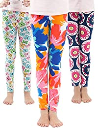 a3feb02092e0d WEWINK PLUS Girls Toddler Leggings Pants 3 Pack Stretchy Printing Flower  Classic Leggings for Kids 4