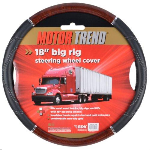 "Motor Trend Premium Automotive Accessories 18"" Inch Heavy Duty Truck Wooden Steering Wheel Covers - Cherry Wood"
