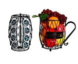 PAG Coffee Pod Holder with Storage and Metal Wire Mug Fruit Basket, Black