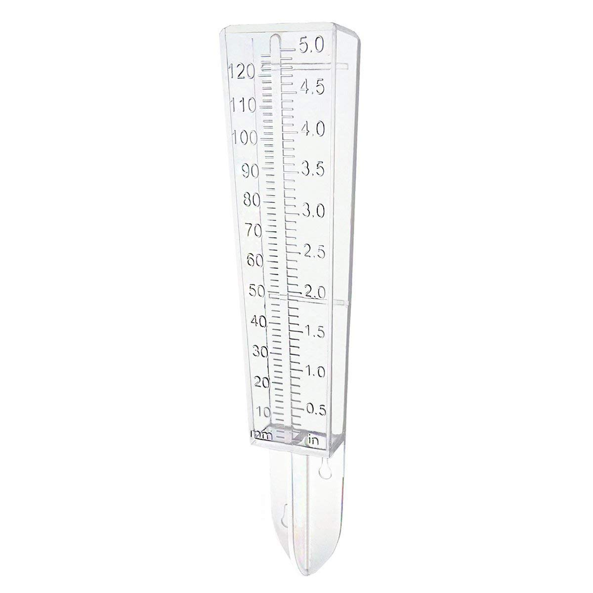 Outdoor Rain Gauge for Yard Capacity Wall Mount or in Ground (White)