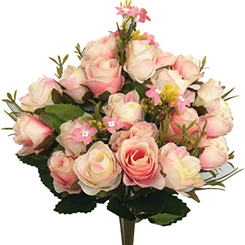 CATTREE Artificial Flowers, Budding Fake Flowers Bouquet 5 Branch 10 Heads Silk Roses Bridal Home Garden Office Dining Table Wedding Decor (Pink Champagne) 2 pcs