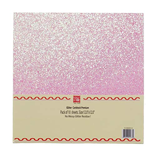 YZH Crafts Chunky Glitter Cardstock Paper, Chunky Glitter Paper, 12 Inch by 12 Inch, 10 Sheets,250GSM, (Pink)