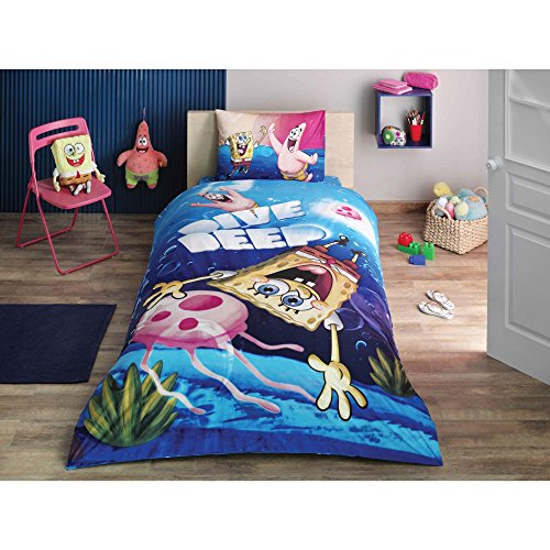 Diva Duvet Cover Set - LaModaHome Licensed Animation Duvet Cover Set, 100% Cotton - Sponge Bob and Patrick Dives Deep, Square Pants, Sea, Blue - Set of 3 - Duvet Cover and Two Pillowcases for Twin and Single Bed