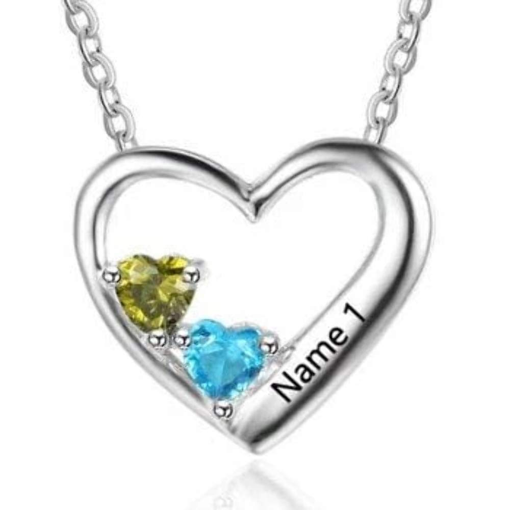 2 Stone Personalized Sterling Silver Birthstone Necklac