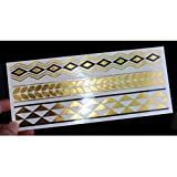 Topicker Gold And Black Temporary Metallic Tattoos With Powder, Like Flash Tats - 2 Sheet--Five steps make you outstanding ,let's move on !