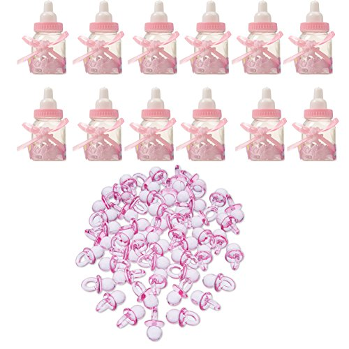 - Baby Shower Favors 12 Pieces Pink Fillable Candy Bottles and 50 Pieces Mini Acrylic Pacifiers Girl Newborn Infant Baptism Christening Birthday Party Decoration