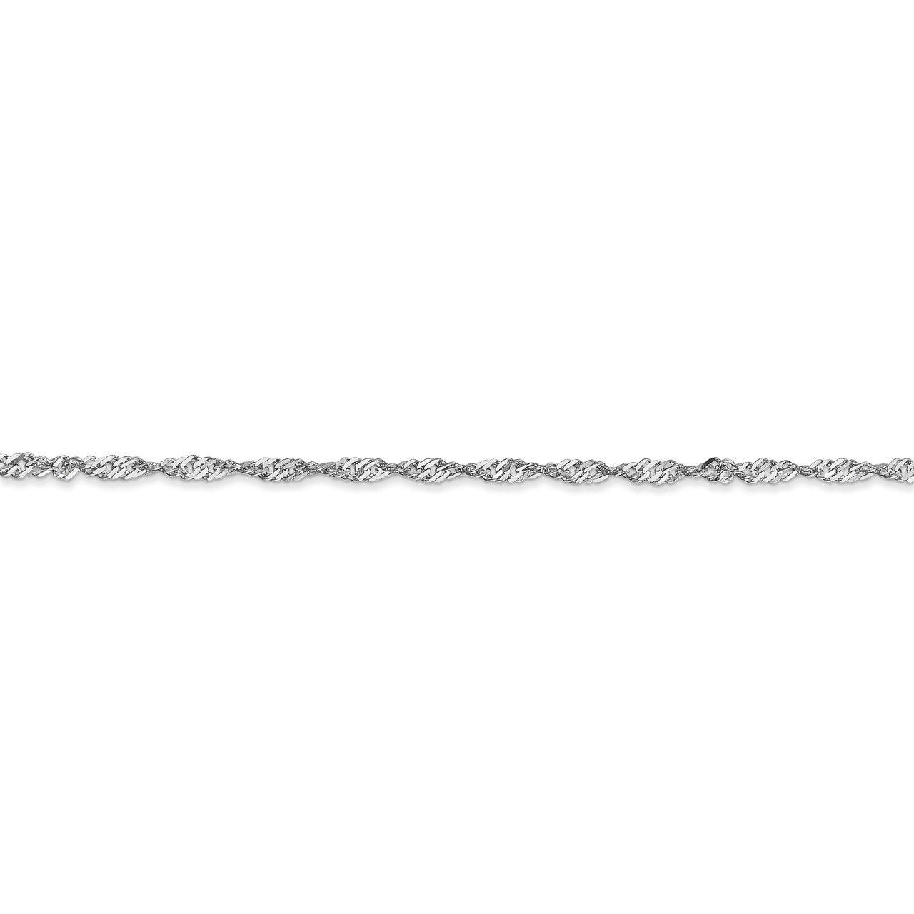 Bracelet or Anklet Lex /& Lu 14k White Gold 1.7mm Singapore Chain Necklace