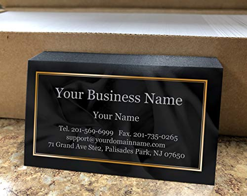 Custom Premium Business Cards 500 pcs- Black Ocean Wave-16pt cover (129 lbs. 350gsm-Thick paper),Offset Printing, Made in The - Business Cards Premium