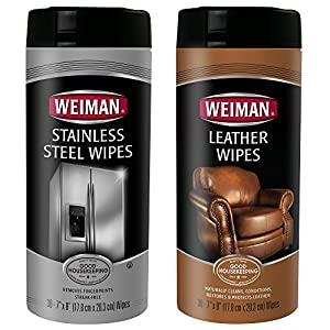 Weiman Stainless Steel Wipes and Leather Wipes - Clean and Polish Appliances for a Brighter and Longer Shine - Clean, Condition and Restore Leather Surfaces- 30 Count (One Each)