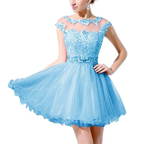 Ballkleider Abendkleid fur zurück siehe Spitzen Elegantes Rosa durch Tüll Rosa Perlen Aiyana mit Mädchen A 36 Kurz Linie Blau nwvZYOq6x