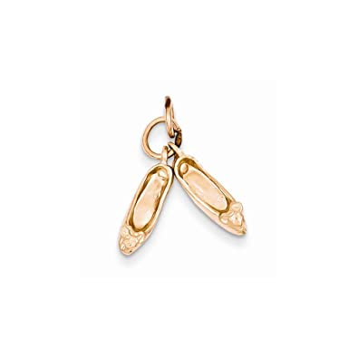 14?K Rose Gold Polished 3-Dimensional Moveable Ballet Slippers Charm K944 OB3Yvmgq