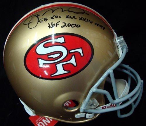 (Joe Montana Signed San Francisco 49ers Riddell Proline Football Helmet - Autographed Football)