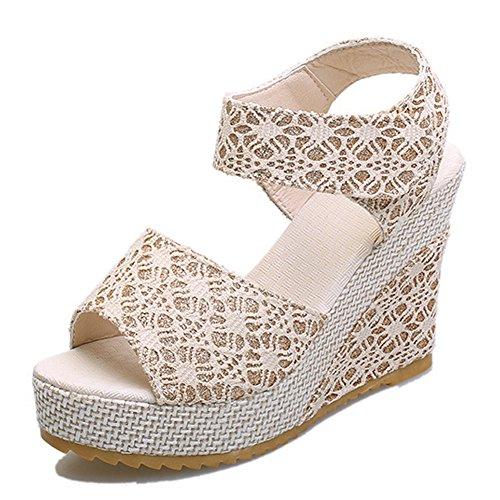 Fereshte Femmes Chaussures Dété Coin Talon Plate-forme Dentelle Sandales Beige