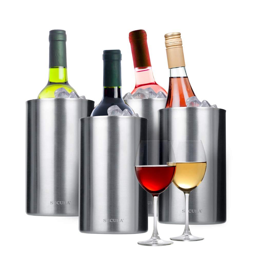 Secura 4 Pieces Wine Cooler Bucket Set | 18/8 Stainless Steel Wine Bottle Chiller Champagne Ice Buckets