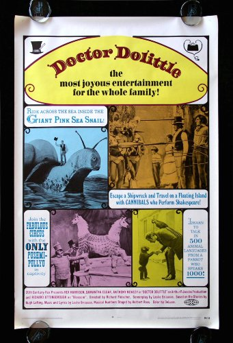 DOCTOR DOLITTLE * CineMasterpieces 1SH ORIGINAL MOVIE POSTER NM 1969 RE RELEASE ROLLED ANIMALS ZOO PET LOVER from CineMasterpieces
