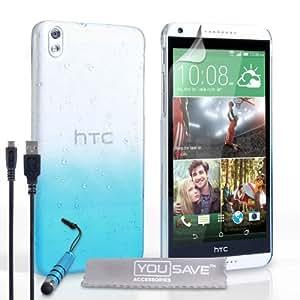Yousave Accessories - Carcasa para HTC Desire 816 (incluye mini lápiz capacitivo y cable Micro USB), diseño de gotas de lluvia, color blanco y azul