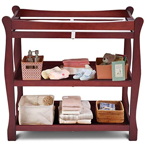 Costzon Baby Changing Table, Infant Diaper Changing Table Organization, Newborn Nursery Station with Pad, Sleigh Style Nursery Dresser Changing Table with Hamper/ 2 Fixed Shelves ()