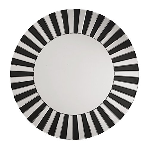 The Jazz Note Round Wall Decor with Glass, Mirror/Black
