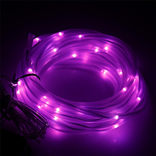 ER CHEN Solar Rope Tube 50 LED String Light Inside/Outside 23 feet long total length for Patio, Gardens, Homes, Christmas, Party(Purple) (Solar Tube Led)