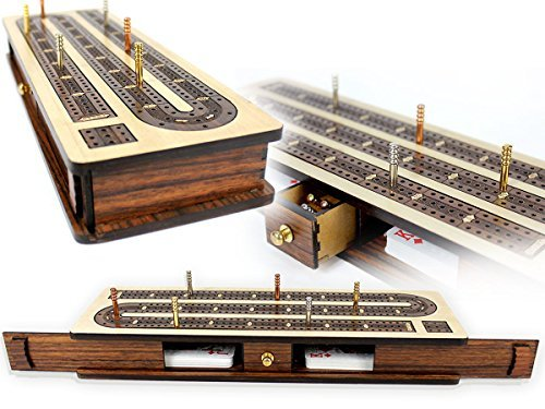 """House of Cribbage - Continuous Cribbage Board / Box inlaid Rosewood 3 Tracks on Maple Board 12"""" : Sliding Lid : Drawer"""
