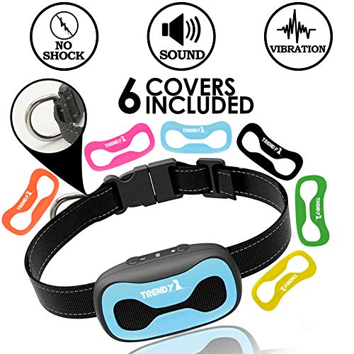Trendy Together Anti Bark Dog Collar No Shock Humane Collar Sound/Vibration Mode - No Bark Device for Small, Medium and Large Dogs - Harmless Training Collar New Model 2019