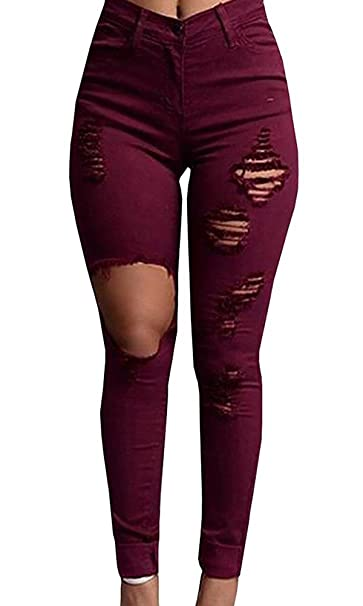 1383807bf78cc4 Pxmoda Womens High Waist Skinny Ripped Jeans Stretch Distressed Denim Pants  (Run Small) at Amazon Women's Jeans store