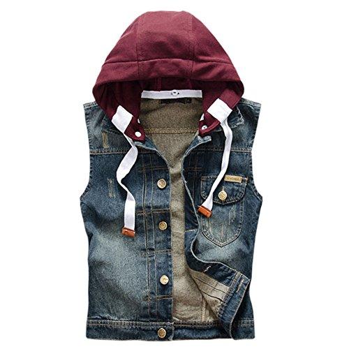 Yollmart Men's Sleeveless Lapel Denim Vest Jacket with Removable Hoodie