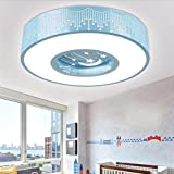 Wei-d Led Children'S Room Chandelier Kindergarten Bedroom Living Room Lobby Warm And Simple Creative Circular Pendant Lamp , Blue , 40cm