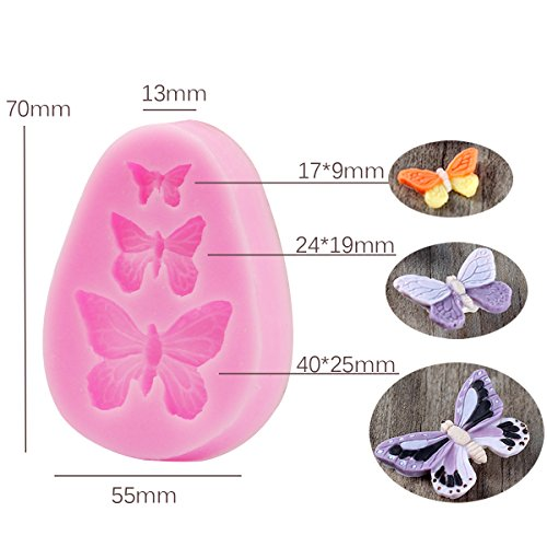 Prokitchen Silicone Flower Fondant Molds for Cake Decorating with Flowers, Butterfly and Wing Baking Fondant Mold Set of 3 ( Pink )