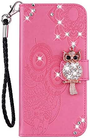 iPhone 11 2019 Case, Shockproof PU Leather Bling Glitter Flip Diamond Owl Case Notebook Wallet Cover with Magnetic Stand Card Holder ID Slots Soft TPU Bumper Protective Skin Rose red