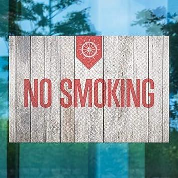 No Smoking CGSignLab 30x20 Nautical Wood Perforated Window Decal 5-Pack
