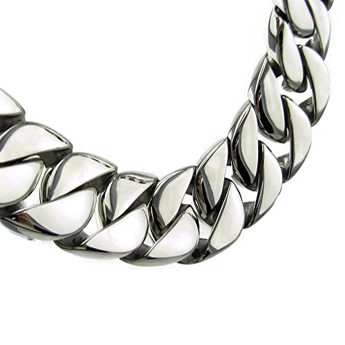 Heavy Chain 30MM Wide Cuban Curb Solid Stainless Steel Silver Hip Hop 28 Inch Huge VIP Necklace by Bling Cartel