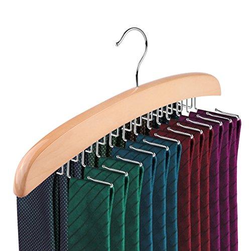 Powstro Wood Tie Hanger, Wodden 24 Hook Rotating Twirl Ties Belt Organizer Rack Hanger Holder
