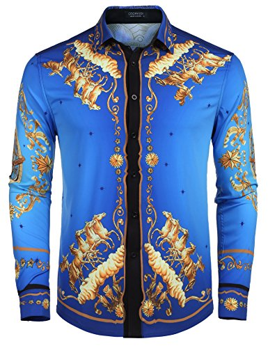 COOFANDY Men's Long Sleeve Luxury Print Dress Shirt -