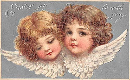 (Easter Greetings Angels Cherubs Brundage Vintage Postcard JF686732)