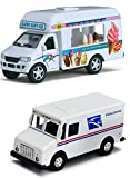 pull back ice cream truck - Ice Cream Truck and Mail Postal Service Truck Set of 2 - 1/46 Scale (5-inches) with Pullback Action & Authentic USPS Graphics