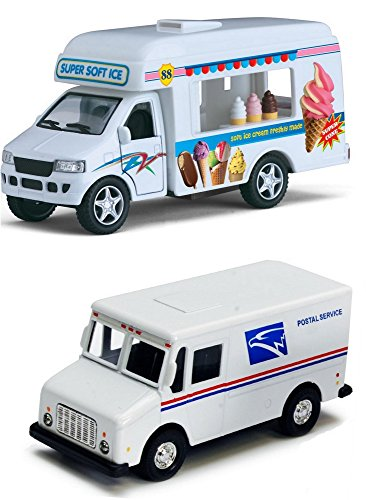 Postal Service Truck (Ice Cream Truck and Mail Postal Service Truck Set of 2 - 1/46 Scale (5-inches) with Pullback Action & Authentic USPS Graphics)