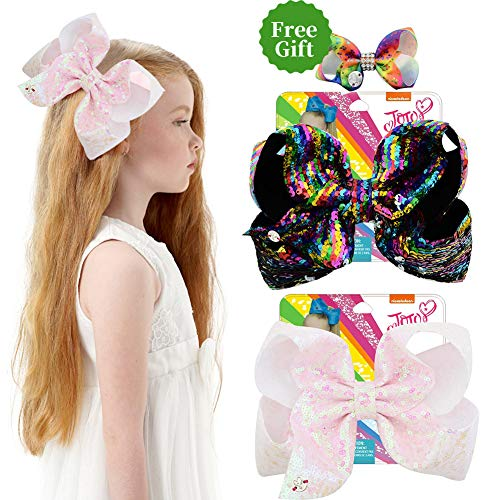 8 Inches JOJO Siwa Hair Bows Alligator Clips for Girls 2pcs Large Bows Hair Barrettes Accessories for Toddler Teens Kids]()