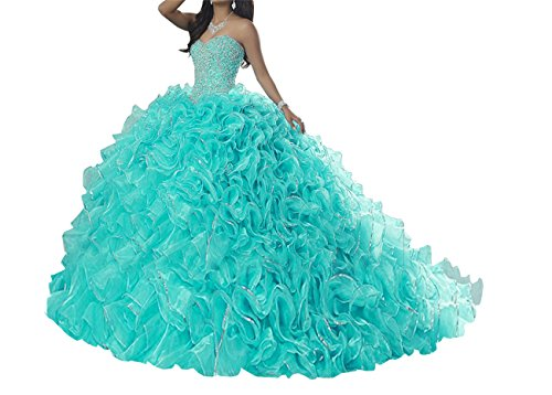 Quinceanera Gown New (TuanYuan Women Sweetheart Ball Gowns Beaded New Quinceanera Pageant Dress 18 Turquoise)