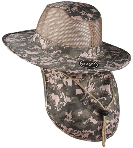 (Enimay Outdoor Hiking Fishing Snap Brim Hat with Neck Flap 3652 Digital Camo Large)