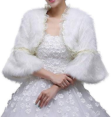 Dama chal Abrigo de invierno cálido abrigo de las mujeres blanco nupcial de manga larga abrigo bufandas chaqueta estolas Poncho para el vestido de fiesta de ...