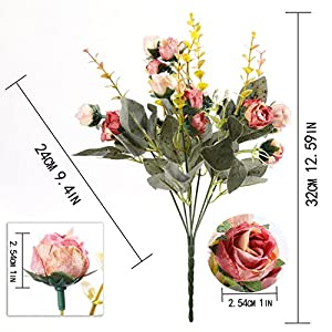 Luyue 7 Branch 21 Heads Artificial Silk Fake Flowers Leaf Rose Wedding Floral Decor Bouquet,Pack of 2 (Pink coffee) 4